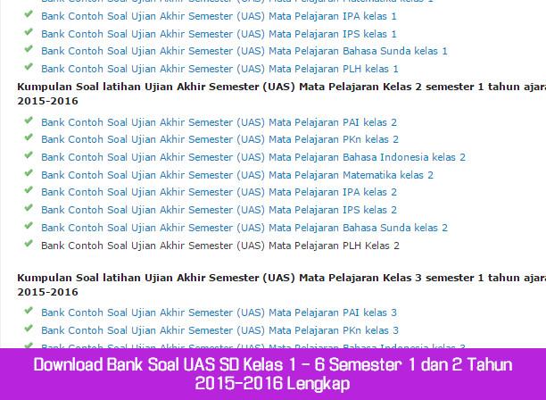 Download Bank Soal UAS SD Kelas 1 - 6 Semester 1 dan 2 Tahun 2015-2016 Lengkap