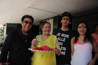 Govinda celeting Holi with His family wife daughter 015.JPG