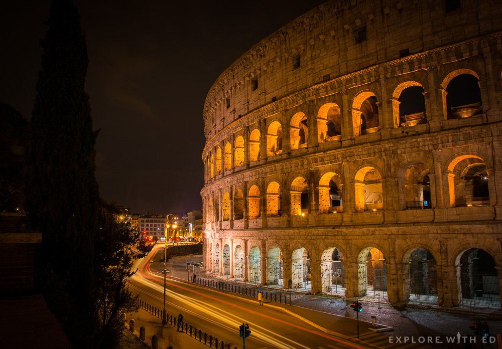 Colosseum at night from Via Nicola Salvi