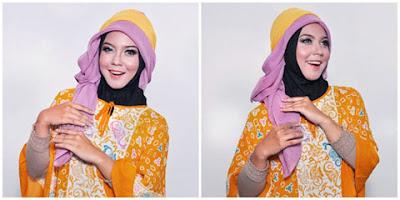 Tutorial Hijab Segiempat Motif Dua Warna