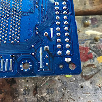 Solder joints for the capacitors on the motherboard