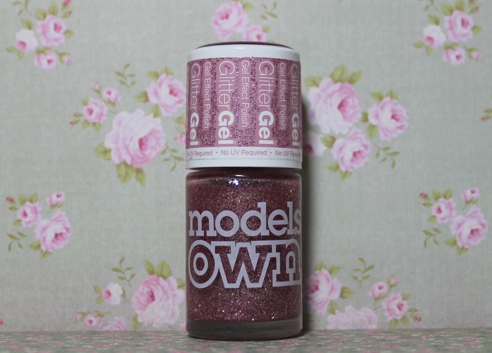 models own glittergel polish crystal pink