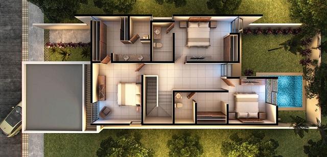 Plano de casa moderna con tres dormitorios planos de for Casa moderna gratis