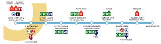 Trayecto aeropuerto-centro Sevilla y paradas.
