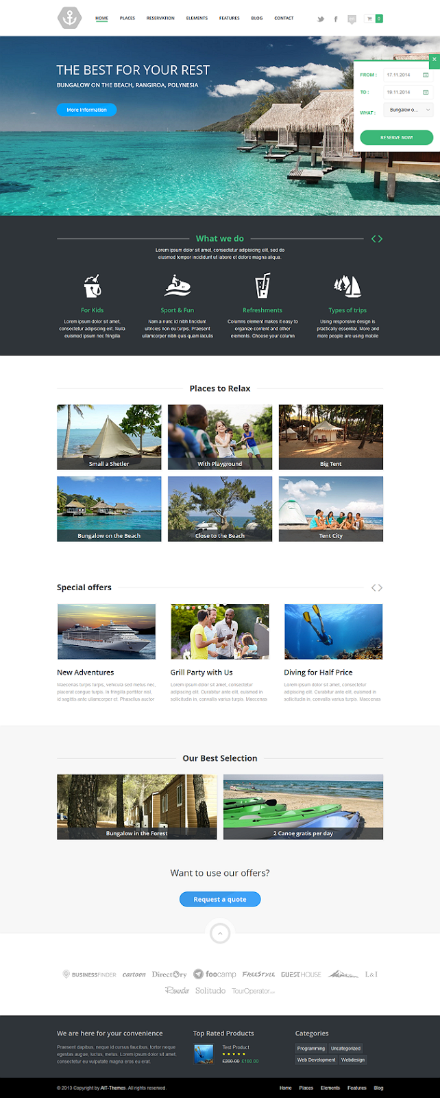 reservation system wordpress template