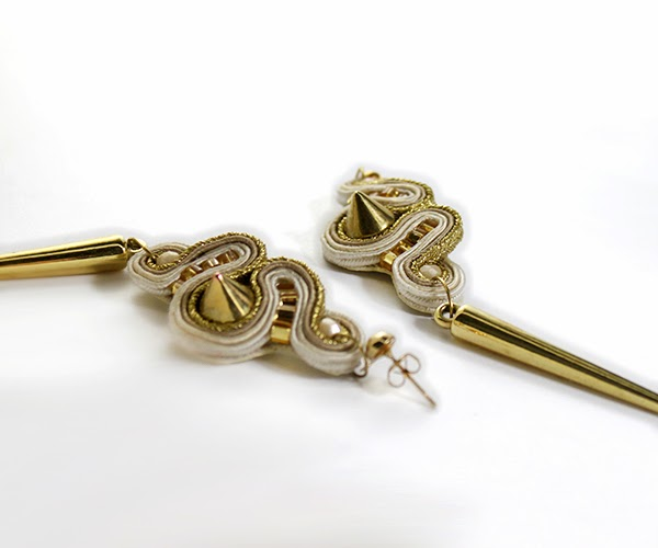 gold and beige soutache earrings, soutache handmade jewelry