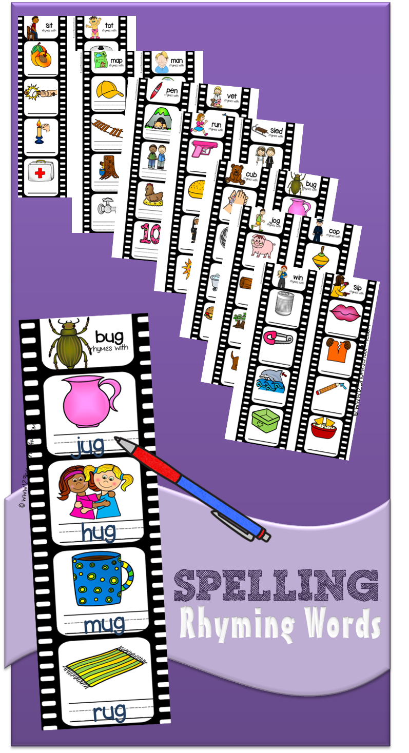 Free Rhyming Word Families Film Strips For Kindergartners