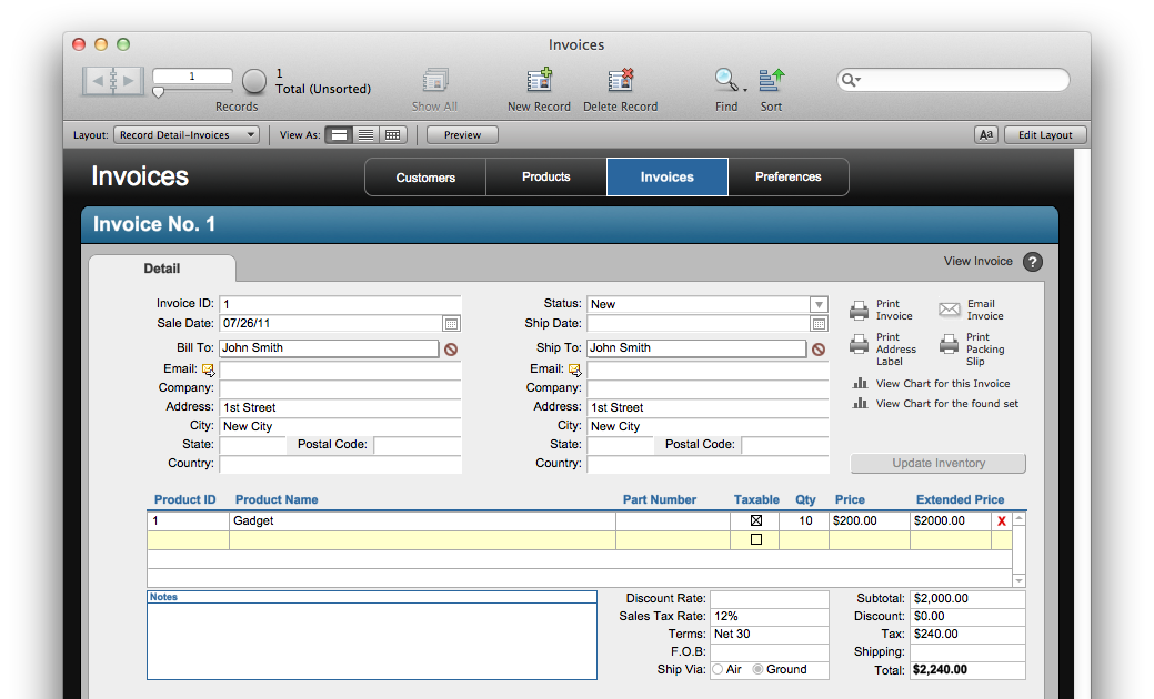 the mac office: free filemaker solution: invoices, Invoice templates