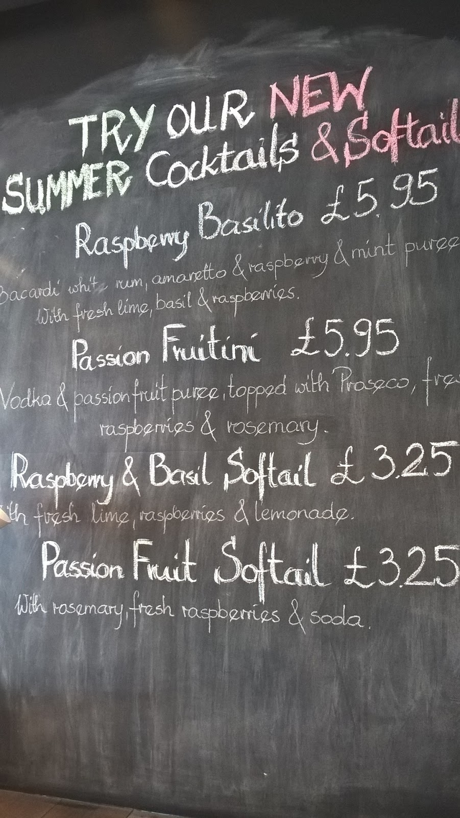 Zizzi Cardiff Bay menu blackboard promoting summer cocktails