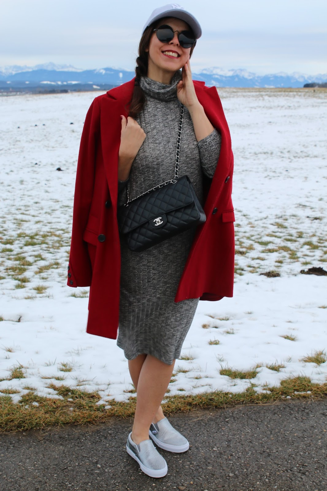 Outfit red coat, grey midi dress, silver Vans, round glasses