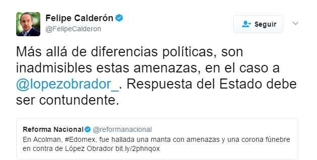 Felipe Calderón considera 'inadmisibles amenazas' contra AMLO