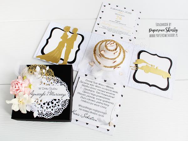 Box ślubny w kolorach czerni, złota i bieli