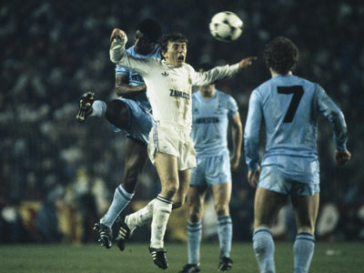Butragueño fight against Tottenham defenders in 1985 UEFA Cup tie