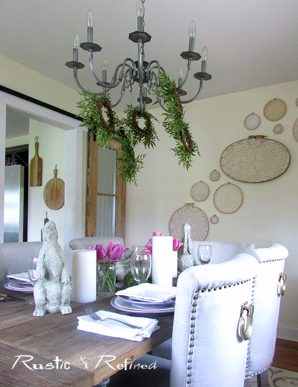 Dining Room styled up with quick and easy table decor for spring