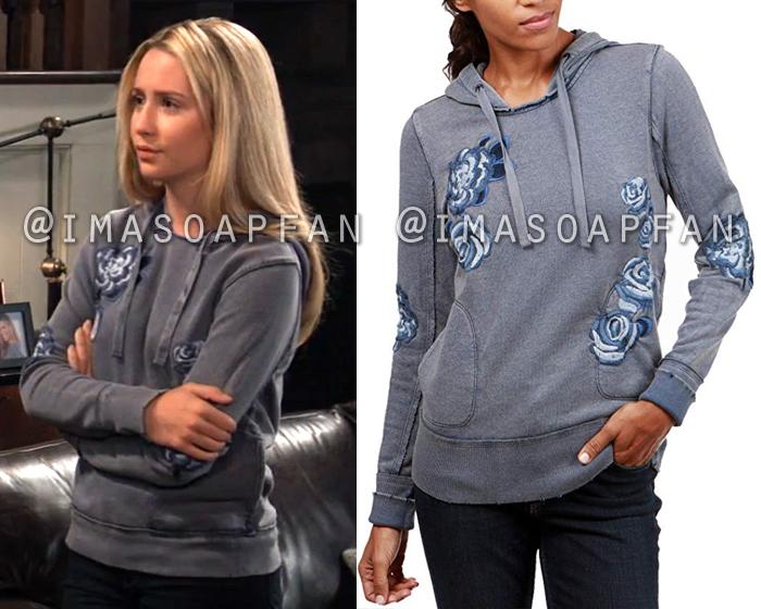 Josslyn Jacks, Eden McCoy, Embroidered Grey and Blue Floral Hooded Sweatshirt, General Hospital, GH