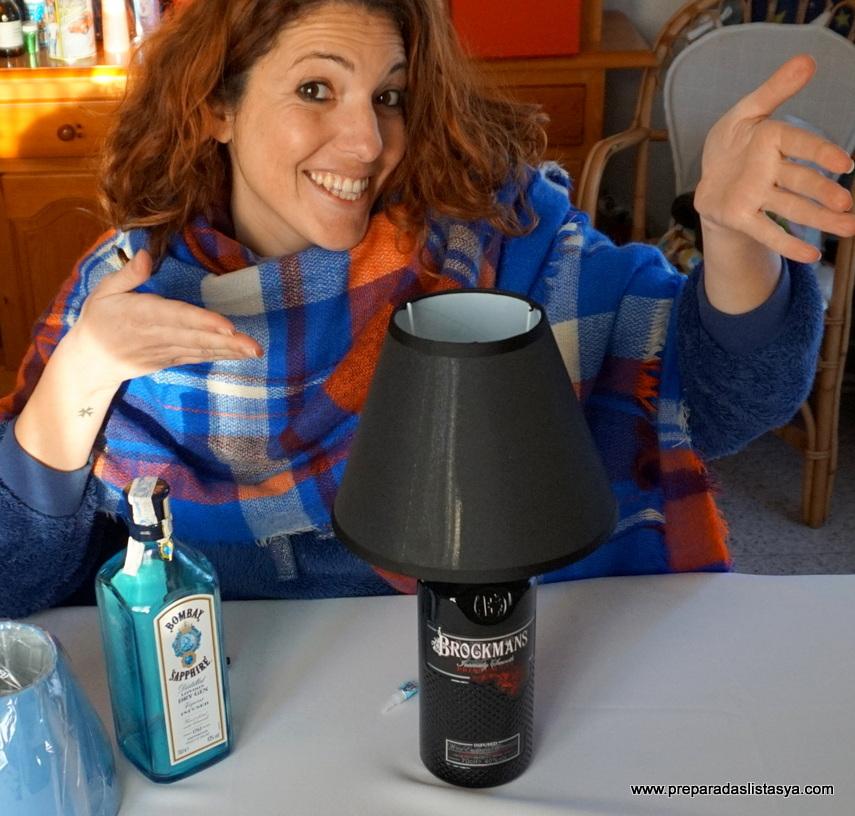Lámpara vela botella