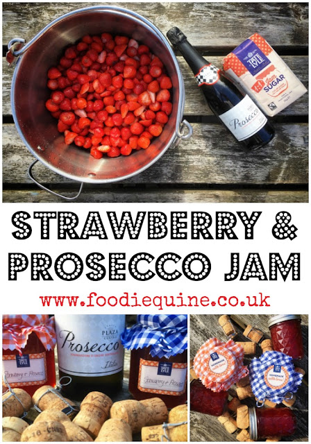 www.foodiequine.co.uk Strawberry & Prosecco Jam Take your stwrawberry jam to a whole new level of awesomeness his summer with the addition of the fizz of the moment - Prosecco! I'm giving you a legitimate excuse to indulge in booze at breakfast time. There's nothing tastier than a slice of toast with lashings of delicious homemade jam, packed full of fresh fruit. Add Prosecco and this simple pleasure gets even sweeter.