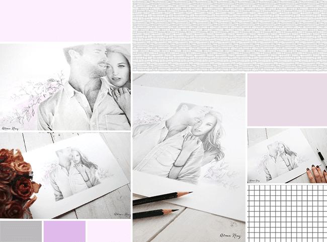 Moodboard ilustración amor