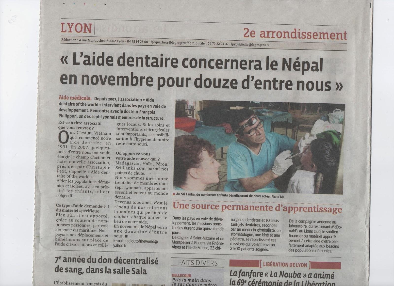 dentiste thonon les bains dans le progres mission au n pal en novembre 2013