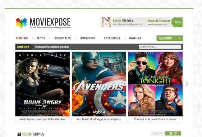 Moviexpose Free Responsive Movie Blogger Template