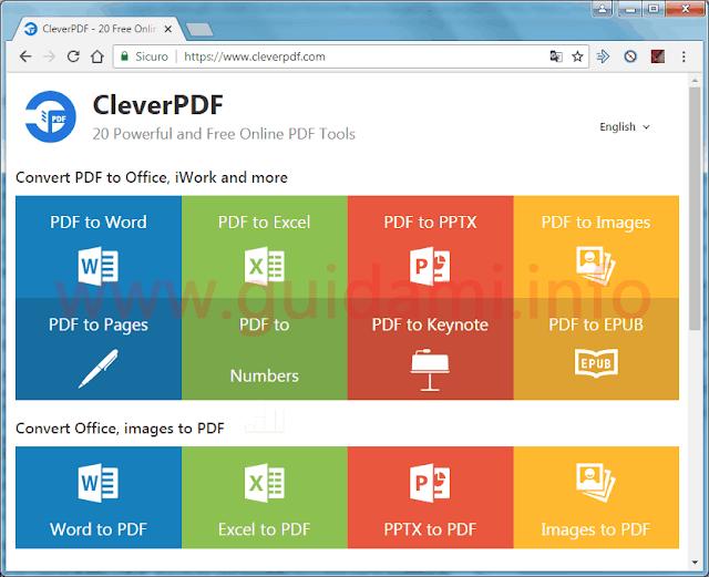 CleverPDF pagina iniziale del sito