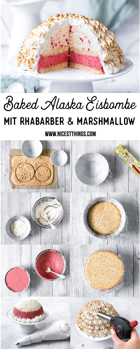 Baked Alaska Eisbombe mit Rhabarber und Marshmallow