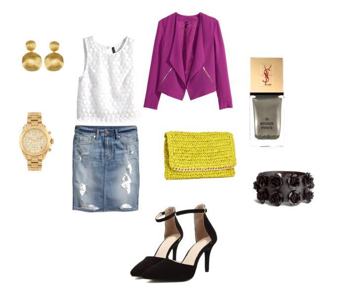 Letnia stylizacja z fuksjowym akcentem, jeansowa spódnica, strój na lato, blog modowy