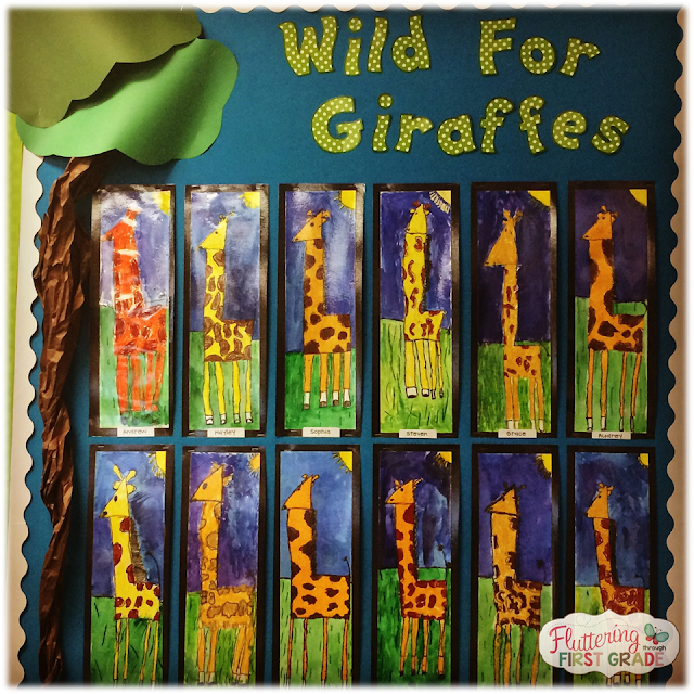 Giraffes savanna habitat art project bulletin board