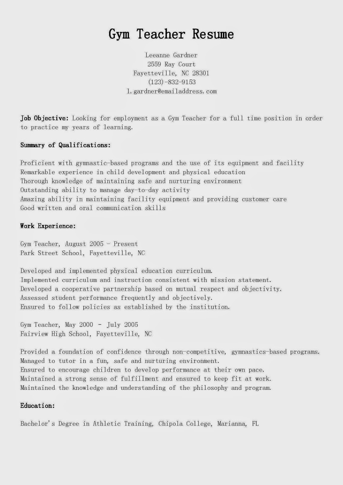 Resume Samples Gym Teacher Resume Sample