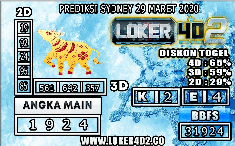 PREDIKSI TOGEL SYDNEY LOKER4D2 29 MARET 2020