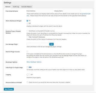 WP Security Audit Log General Settings