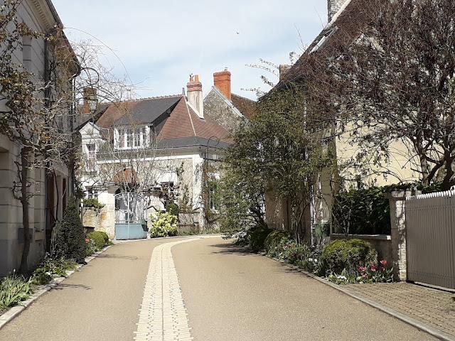 Village of Chedigny street scene in spring