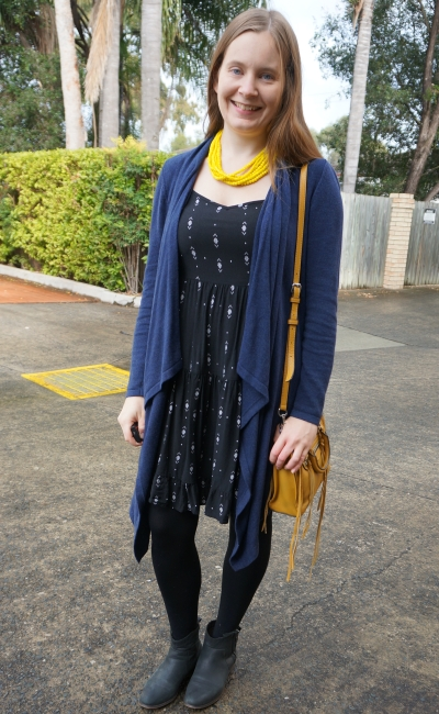 navy waterfall cardigan ankle boots tights summer sundress in winter yellow accessories | awayfromblue