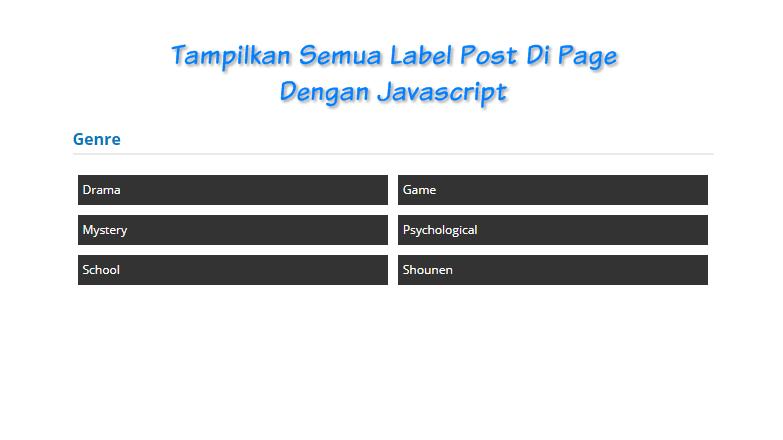 Tampilkan Semua Label Post Di Page Dengan Javascript