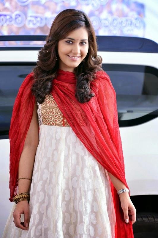 Tollywood Actress Rashi Khanna Stills In Red Dress