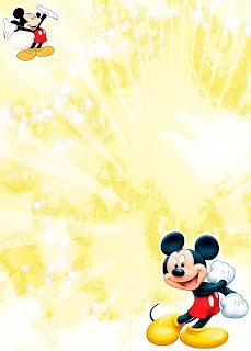 Tarjeta de Invitación de Mickey Mouse Amarilla