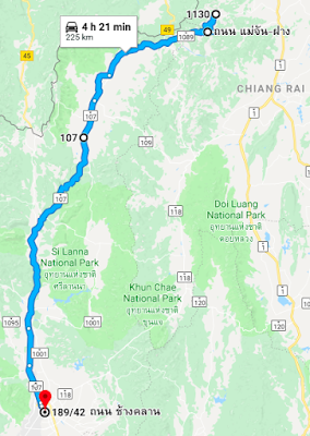 Route from Mae Salong to Chiang Mai in Thailand