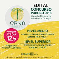 CRN-8 PR: Inscrição Concurso Público EDITAL CRN RN 2018