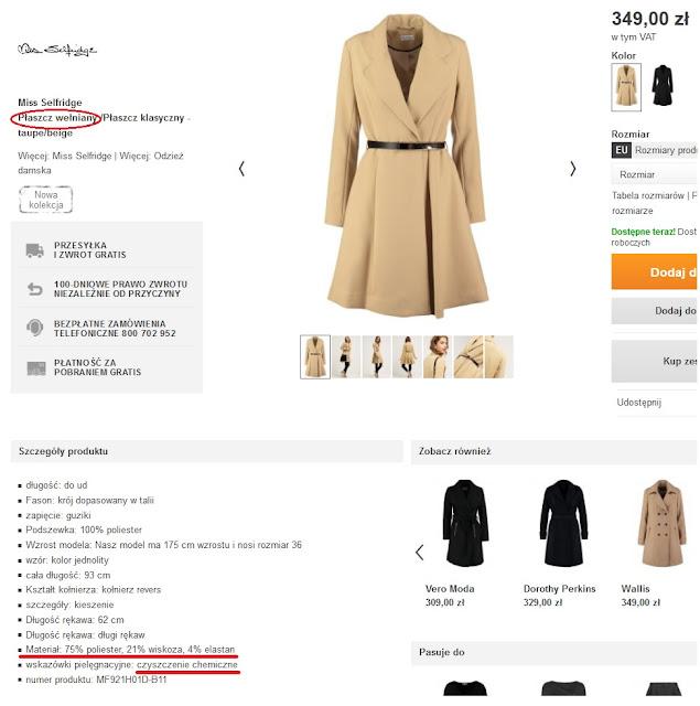 Wełniany płaszcz bez wełny...