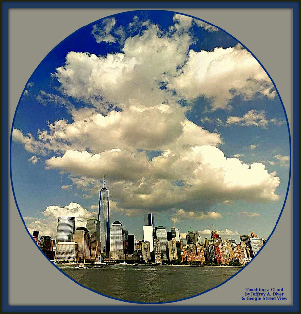 blue sky with cumulus clouds accents view of Freedom Tower from the water in New York City