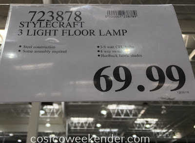 Deal for the StyleCraft 3 Light Floor Lamp at Costco