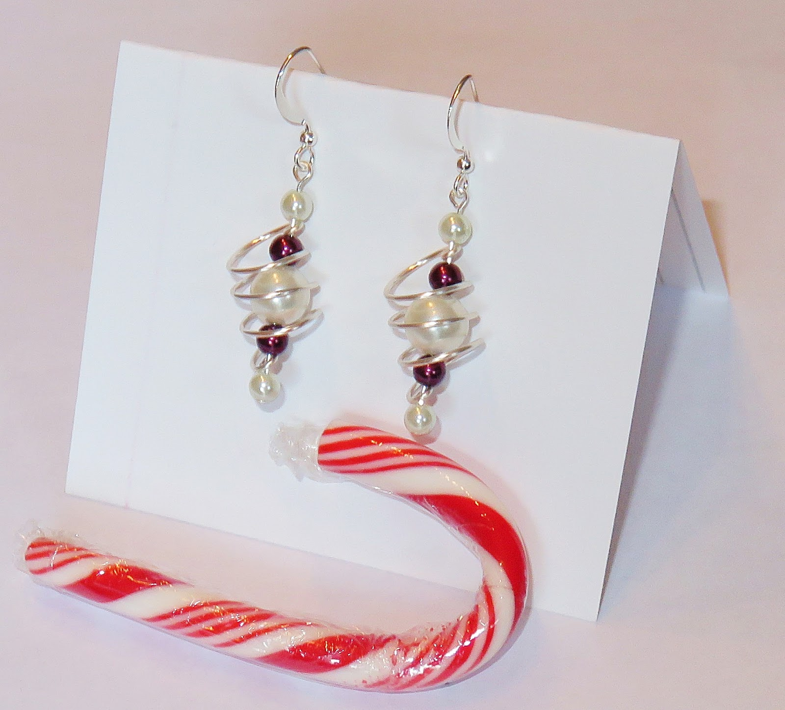 I Did Have One Small Red And White Candy Cane, So I Tried To Lay It Next To  The Earrings On Their Card: