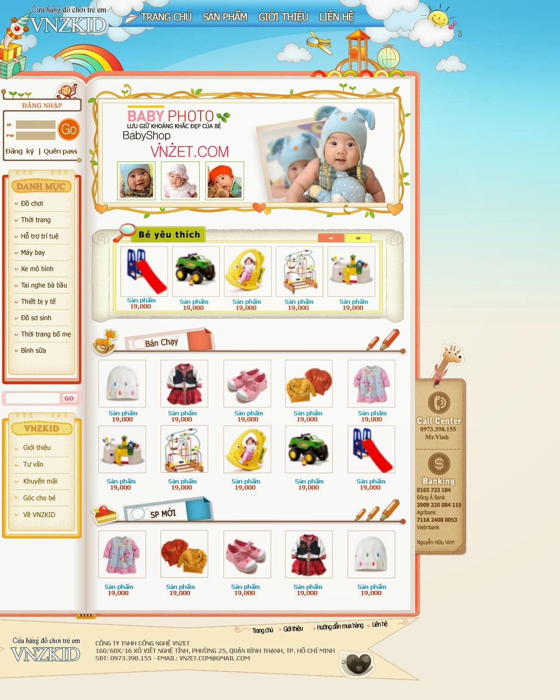 thiết kế web bán hàng đồ chơi