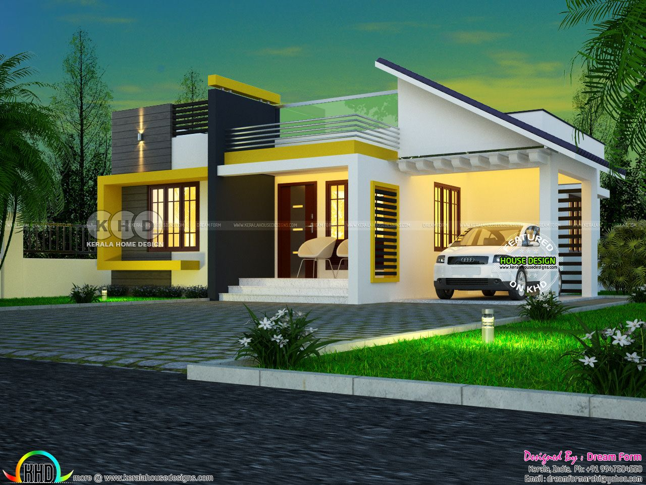 One floor contemporary style 3 BHK home plan - Kerala home ...