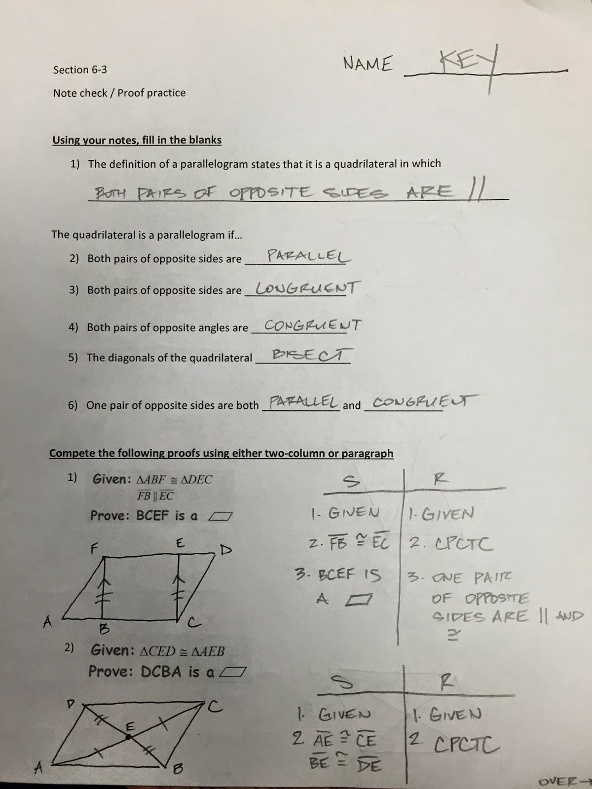 Honors Geometry - Vintage High School: Section 6-3 proofs