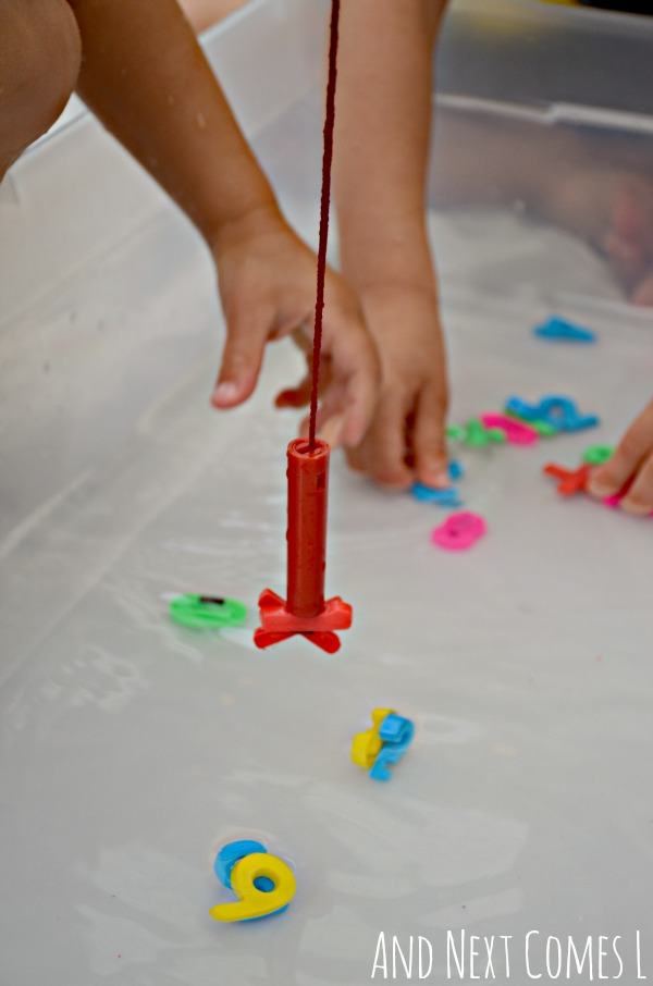 Fishing for numbers in a math themed water sensory bin for kids from And Next Comes L