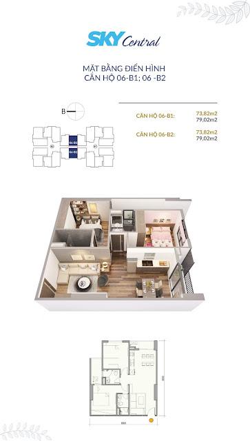 Thiết kế căn hộ B1-B2 diện tích 79m2 có 02 phòng ngủ