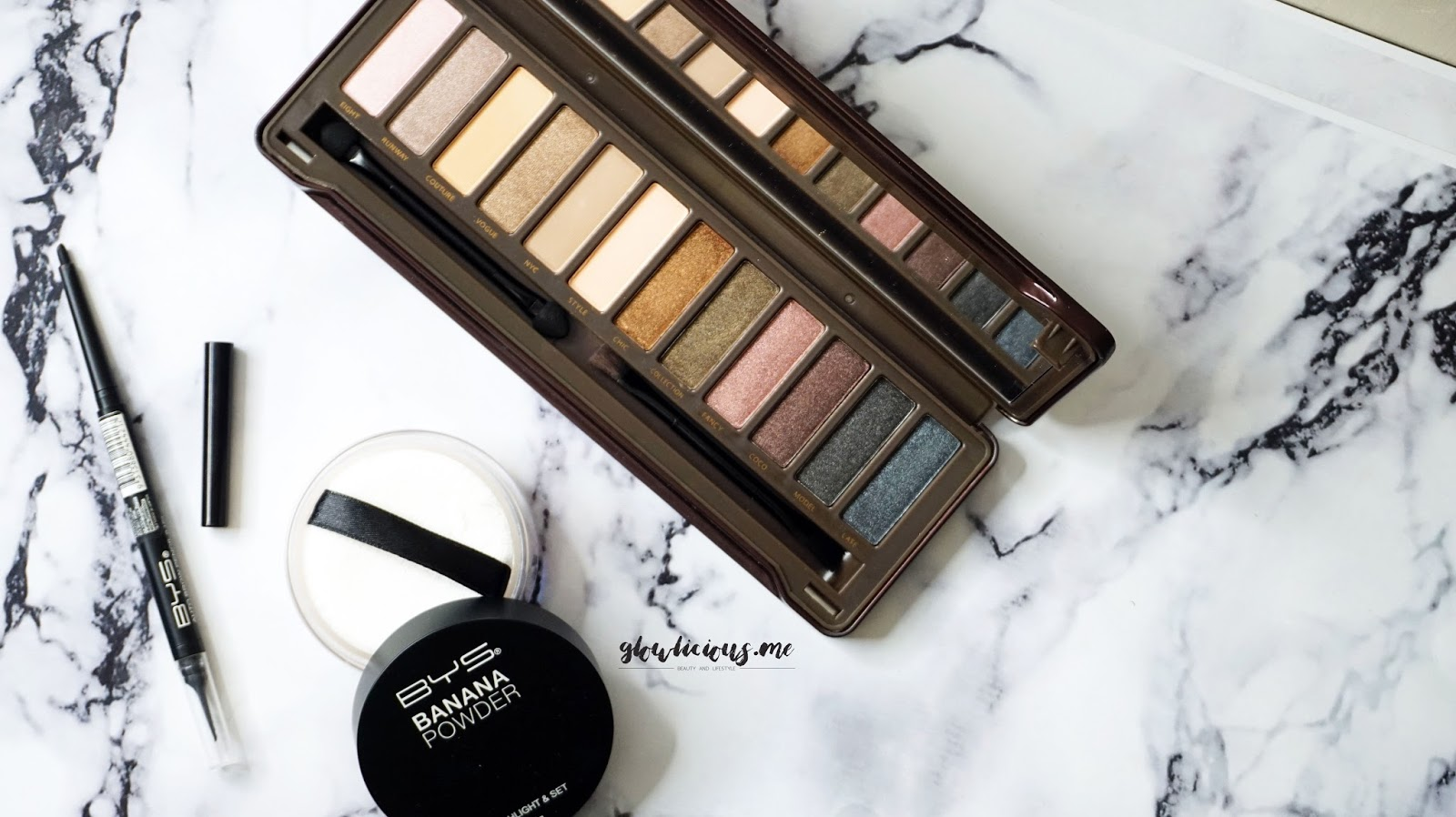 review BYS Nude Eyeshadow Palette, review BYS Banana Powder, review BYS Auto Brow Pencil