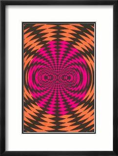 Turuncu ve pembe renklerde karışık desenli bir tablo