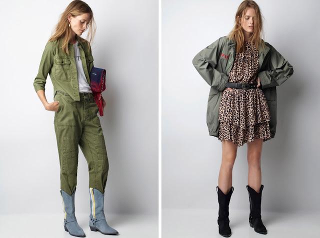 Одежда в утилитарном стиле с ковбойскими сапогами